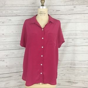 Tommy Bahama silk button up flowy batwing top
